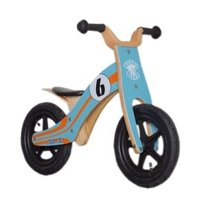 Lernlaufrad Rebel Kidz Wood Air Holz, 12``, blau/orange